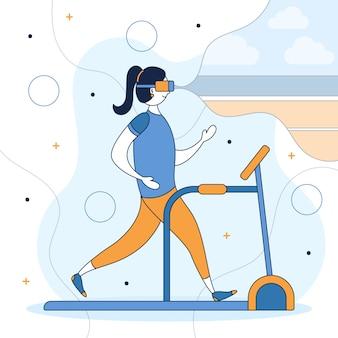 Virtuelles fitnessstudio von zu hause aus konzept