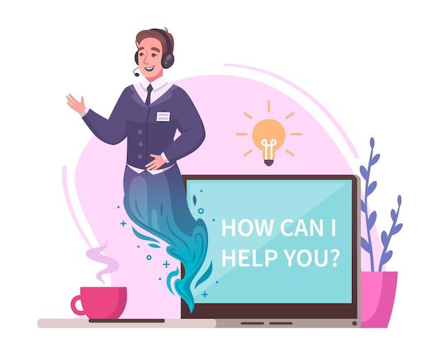 Virtuelles genie-charakterkonzept mit problemhilfesymbolkarikatur