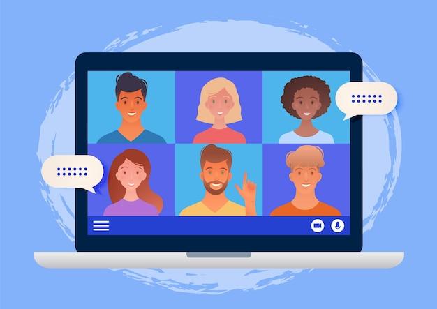 Virtuelles gruppentreffen, das über eine videokonferenz unter verwendung eines laptop-computers abgehalten wird, der mit online-illustration der kollegen chattet