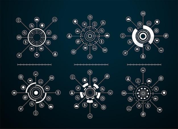 Virtuelles ikonennetzwerkdiagramm des vektors
