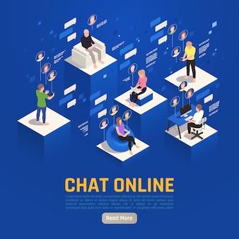 Virtuelles online-chat-banner Kostenlosen Vektoren