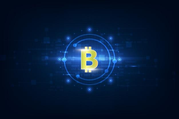 Virtuelles symbol der münze bitcoin auf binärcode hintergrund