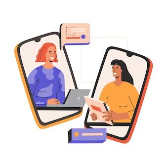 Virtuelles vorstellungsgespräch, zwei lächelnde frauen haben geschäftstreffen, treffen per smartphone.