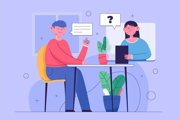 Virtuelles vorstellungsgespräch zwischen arbeitnehmer und arbeitgeber