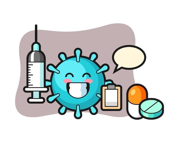 Virus-cartoon als arzt