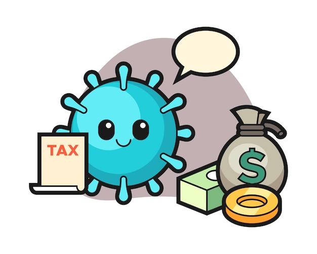 Virus-cartoon als buchhalter