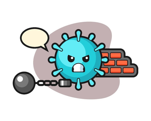 Virus-cartoon als gefangener