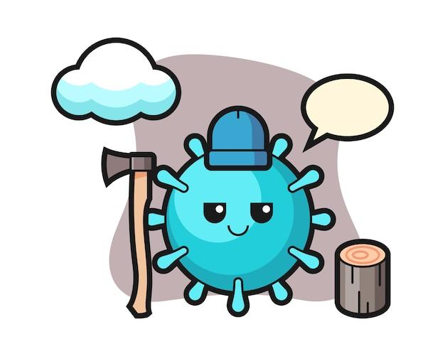 Virus cartoon als holzfäller
