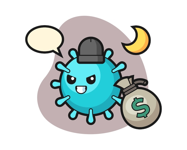 Virus cartoon hat das geld gestohlen