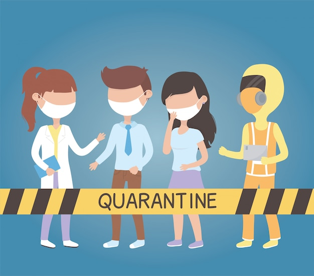 Virus covid 19 quarantäne, personal medizinischer patienten mit maske und schutzanzug