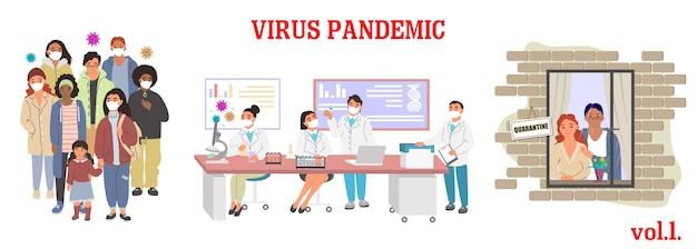 Virus-epidemie-illustration. prävention von atemwegserkrankungen, bewusstsein. gruppe von menschen tragen maske, mikrobiologen im labor, paar quarantäne zu hause. corona-virus-pandemie.