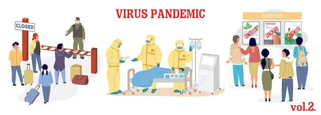 Virus-epidemie-illustration. prävention von atemwegserkrankungen des coronavirus. geschlossene grenzen, intensivraum und ärzte in schutzanzügen, quarantäne und abgesagte veranstaltungen. corona-virus-pandemie.