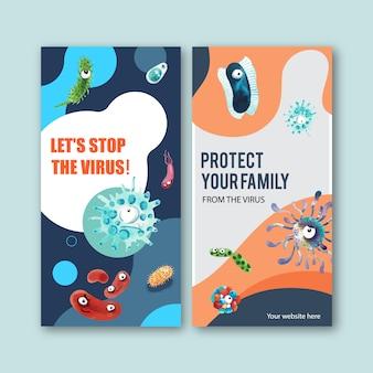 Virus-instragram-story-vorlagen im aquarellstil