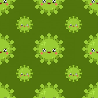 Virus kawaii nettes karikaturmuster. lustiger infektionshintergrund.