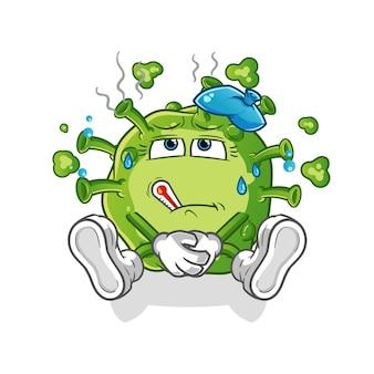 Virus krank. zeichentrickfigur
