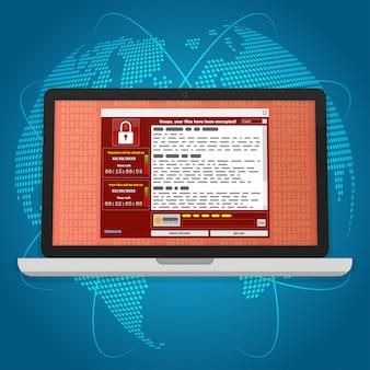Virus malware ransomware wannacry verschlüsselt ihre dateien und benötigt geld