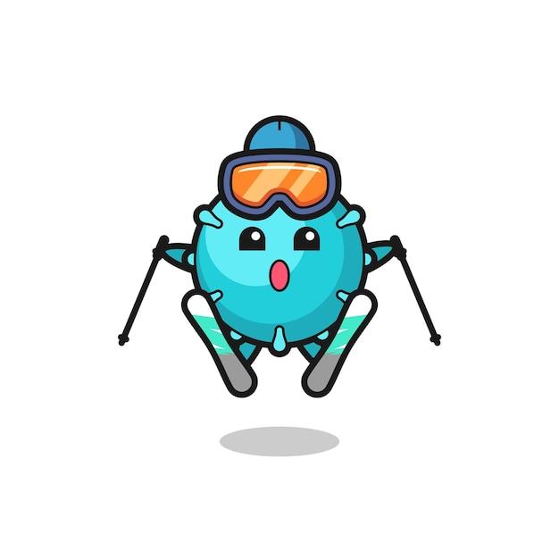 Virus-maskottchen-charakter als skispieler, niedliches design für t-shirt, aufkleber, logo-element