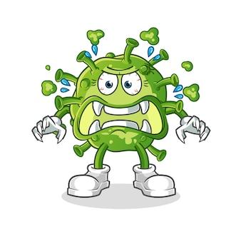 Virus monster zeichentrickfigur isoliert auf weiß