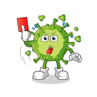 Virus schiedsrichter mit roter karte illustration