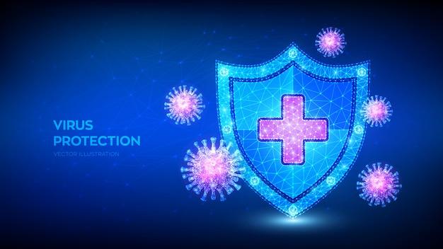 Virus schutz. niedriger polygonaler schild und covid-19-viruszellen. mikrobiologie und medizin.