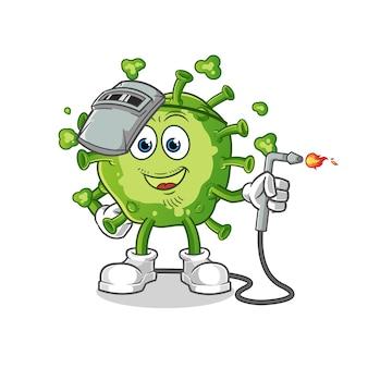 Virus schweißer maskottchen.