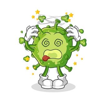 Virus schwindlig kopf maskottchen. karikatur