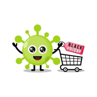 Virus-shopping schwarzer freitag süßes charakter-maskottchen