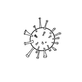 Virus-umriss auf einem weißen, isolierten hintergrund. vektor-doodle-illustration.