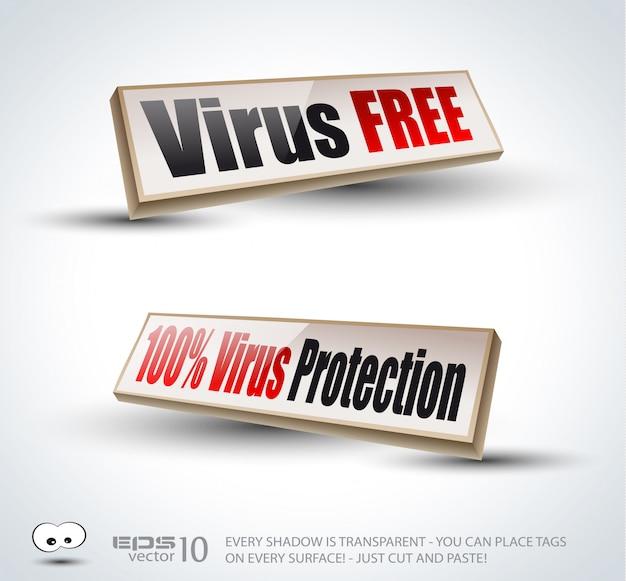 Virusfreie 3d-panels mit transparenten schatten