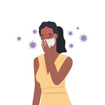 Viruskeime verbreiten sich in der luft. frau, die masken trägt und hustet. illustration in einem flachen stil