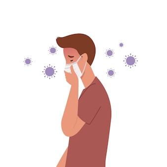 Viruskeime verbreiten sich in der luft. mann, der masken trägt und hustet. illustration in einem flachen stil