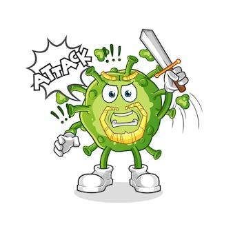 Virusritter greifen mit schwertcharakter an