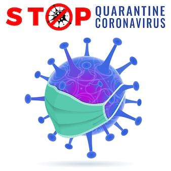 Virusstamm mit stoppschild in quarantäne der medizinischen maske