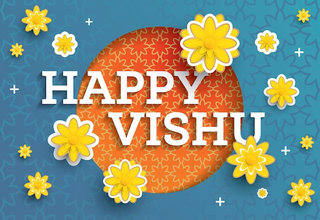 Vishu-festival. vektor-illustration. traditionelles indisches festival happy vishu in kerala indien gefeiert. papierkunst-blumen.