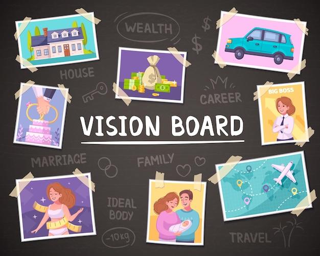 Vision board cartoon hintergrund mit reichtum und familie symbole illustration