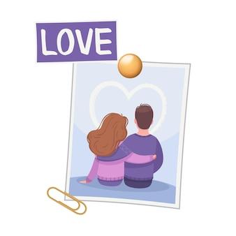 Vision board komposition mit foto von liebespaar