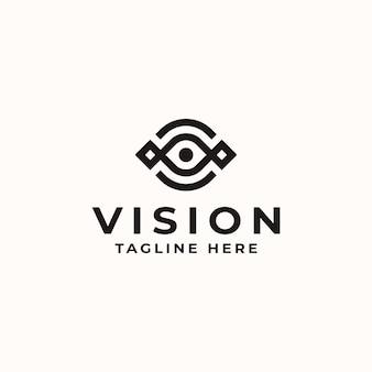 Vision eye monogramm konzept logo vorlage