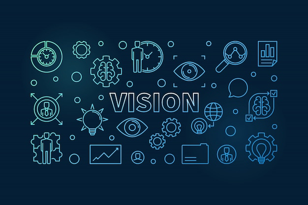 Vision konzept umriss symbole