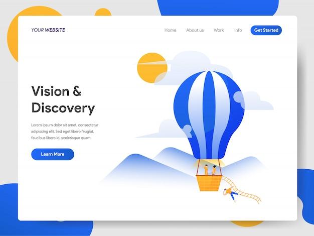 Vision und entdeckung mit heißluftballon