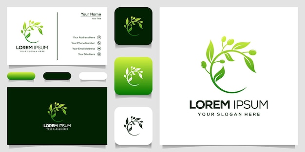 Visitenkarte der olivenlogoschablone