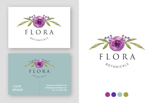 Visitenkarte des lila blumenlogoentwurfs des aquarells
