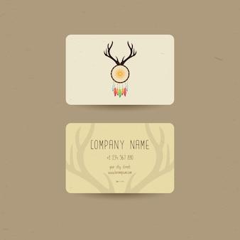 Visitenkarte für ethnischen stil, kann uns party einladung oder uns verwendet werden boho shop visitenkarten, vektor-illustration