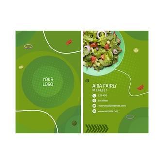 Visitenkarte für gesunde lebensmittel