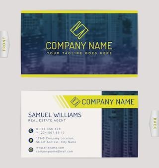 Visitenkarte für immobilienunternehmen. vorlage mit unscharfem stadtbildhintergrund.