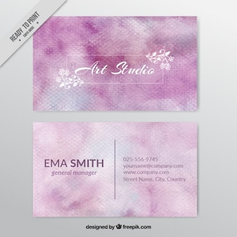 Visitenkarte für kunststudio mit rosa aquarellen