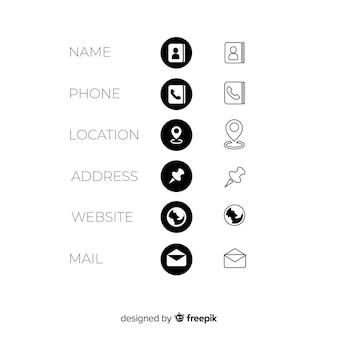 Visitenkarte icons sammlung