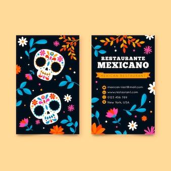 Visitenkarte im vertikalen format mit mexikanischen elementen