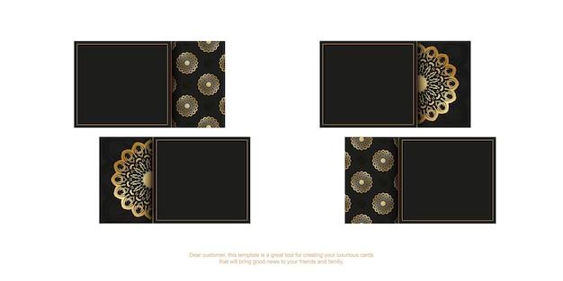 Visitenkarte in schwarz mit goldenem mandala-ornament