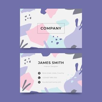 Visitenkarte mit abstrakten formen und pastellfarbenen formen