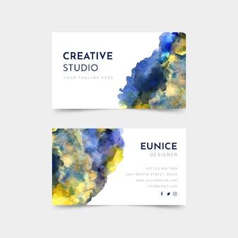 Visitenkarte mit aquarellfarbe Premium Vektoren